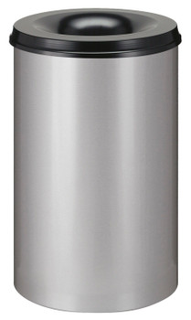 Vepa Self Extinguishing Waste Paper Bin 110 Litres - Aluminium Grey / Black