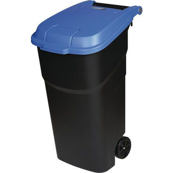 Manutan Black Wheeled Bin With Blue Lid - 100L