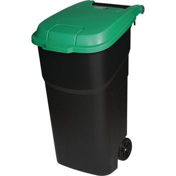 Manutan Black Wheeled Bin With Green Lid - 100L