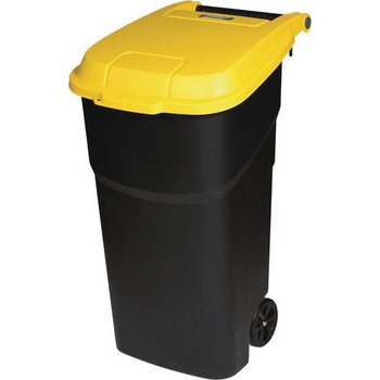 Manutan Black Wheeled Bin With Yellow Lid - 100L