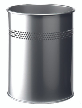 330023 - Durable 15L Round Metal Waste Basket with Perforated Ring - Silver