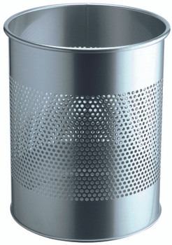 331023 - Durable 15L Round Metal Perforated Waste Basket - Silver