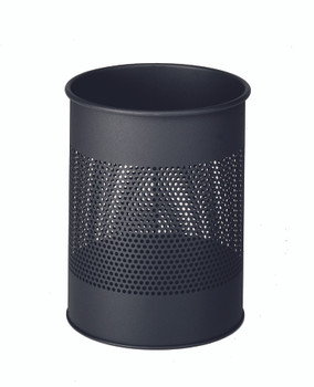 331058 - Durable 15L Round Metal Perforated Waste Basket - Charcoal