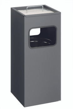 333158 - Durable 17L Square Metal Waste Basket with 2L Ashtray - Charcoal