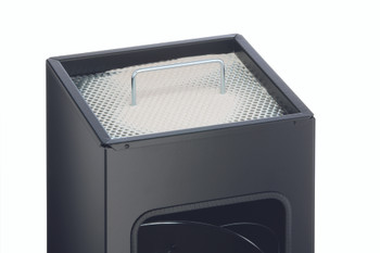 333158 - Durable 17L Square Metal Waste Basket with 2L Ashtray - Charcoal - Life