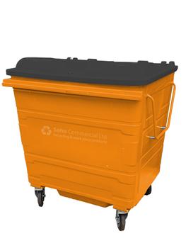 Orange Metal Wheelie Bin - 1100 Litre