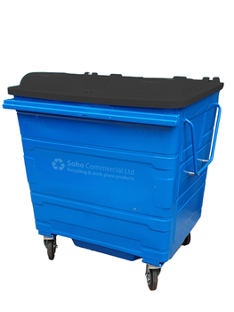 Blue Metal Wheelie Bin - 1100 Litre