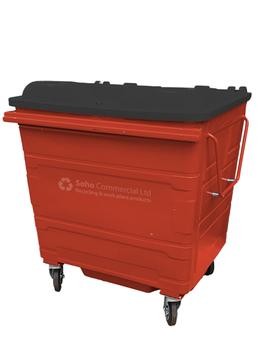 Red Metal Wheelie Bin - 1100 Litre