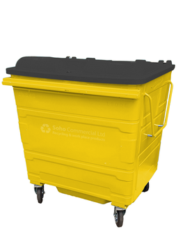 Yellow Metal Wheelie Bin - 1100 Litre