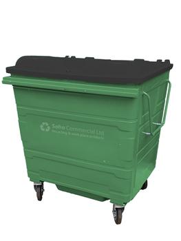 Green Metal Wheelie Bin - 1100 Litre