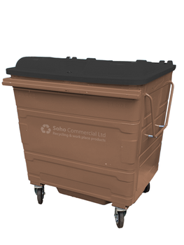 Brown Metal Wheelie Bin - 1100 Litre