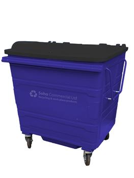 Dark Blue Metal Wheelie Bin - 1100 Litre