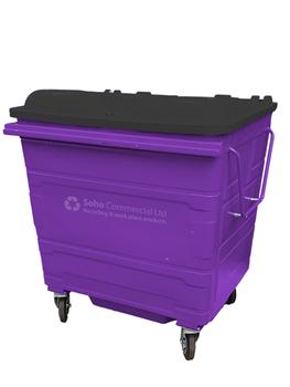 Purple Metal Wheelie Bin - 1100 Litre