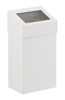 Vepa 18 Litre Square Waste Bin with Push Lid - White