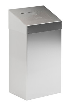 Vepa 50 Litre Square Waste Bin with Push Lid - Matt S/S