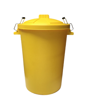 Dustbin With Locking Handles- 80 Ltr- Yellow