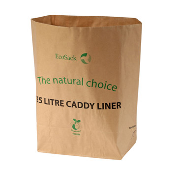 All-Green EcoSack Compostable Paper Kerbside Caddy Bags - 25 Ltr