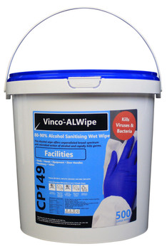 CP149 - HCI Vinco-ALWipe Facilities Alcohol Wipe - 500 Wipes - White - A High Alcohol Content Wet Wipe Designed for Use in Offices, Airports, Gyms and More