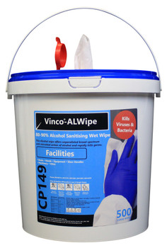 CP149 - HCI Vinco-ALWipe Facilities Alcohol Wipe - 500 Wipes - White - Suitable for Use on Door Handles, Desks, Display Screens, Touchpoints, Hands & More