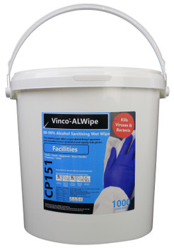 CP151 - HCI Vinco-ALWipe Alcohol Facilities Wipe - 1000 Wipes - White - A High Alcohol Content Wet Wipe Designed for Use in Offices, Airports, Gyms and More