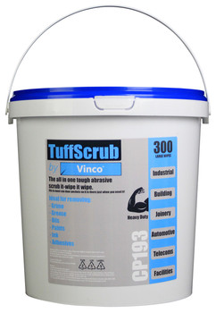 CP193 - HCI TuffScrub by Vinco Abrasive Wipe - 300 Wipes - Heavy-Duty Cleaning Wipe Designed for Industrial Sector