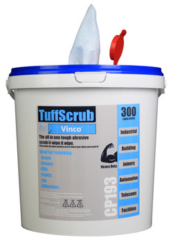 CP193 - HCI TuffScrub by Vinco Abrasive Wipe - 300 Wipes - Ideal for Cleaning Glass, Windows, Doors and Lights