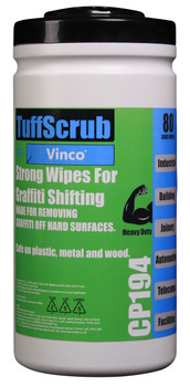 CP194 - HCI TuffScrub by Vinco GRAFFITI Wipe - 80 Wipes - Heavy-Duty Cleaning Wipe that Removes Graffiti from Hard Surfaces