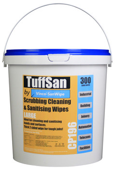 CP196 - HCI TUFFSAN by Vinco-SanWipe Scrubbing & Cleaning Wipe - 300 Wipes - Manufactured in the UK from Sustainably Sourced Materials