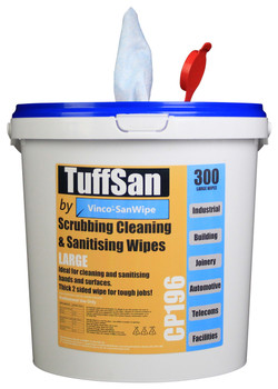 CP196 - HCI TUFFSAN by Vinco-SanWipe Scrubbing & Cleaning Wipe - 300 Wipes - Featuring a Pop-Up Spout to Facilitate Easy Dispensing of Wipes