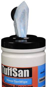 CP197 - HCI TUFFSAN by Vinco-SanWipe Scrubbing & Cleaning Wipe - 80 Wipes - Slim Dispenser Tub Facilitates Easy Extraction of Wipes