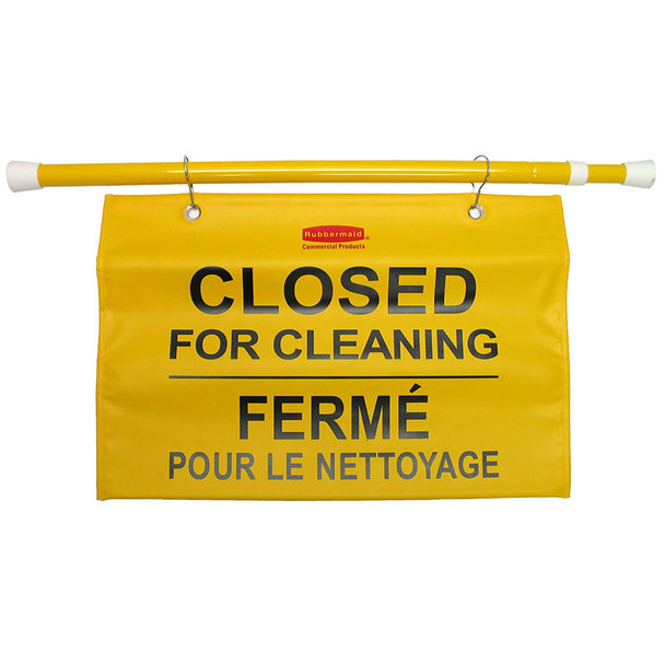 "Rubbermaid Site Safety Hanging Sign - Multilingual ""Closed For Cleaning"""