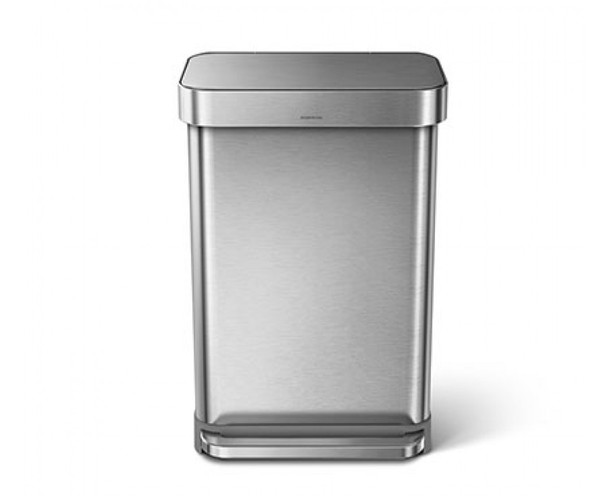 simplehuman Rectangular Pedal Bin With Liner Pocket 55 Litre, Brushed Steel