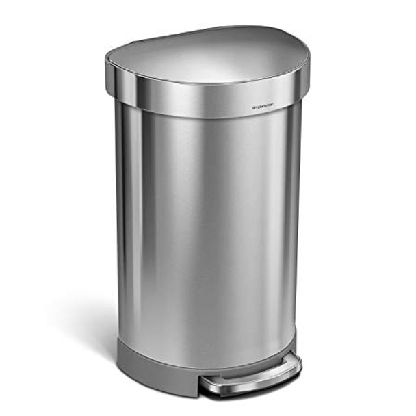 simplehuman Semi-Round Pedal Bin With Liner Rim 45 Litre, Brushed Steel