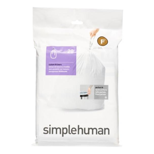 simplehuman Custom Fit Bin Liner Code F, Pack Of 20