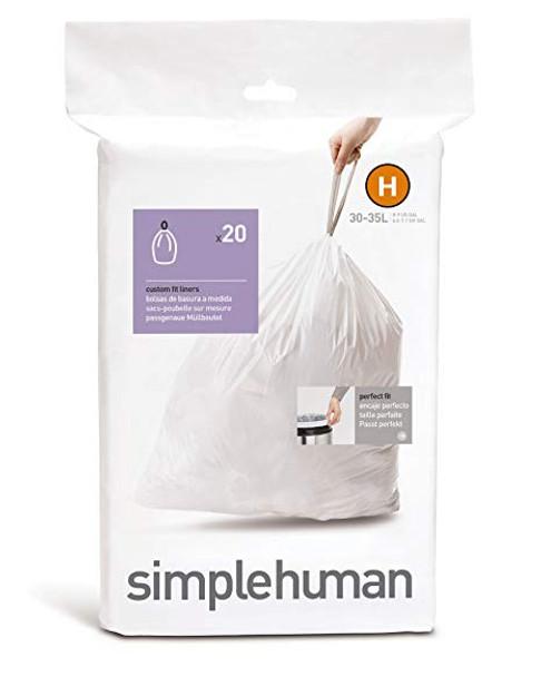simplehuman Custom Fit Bin Liner Code H, Pack Of 20
