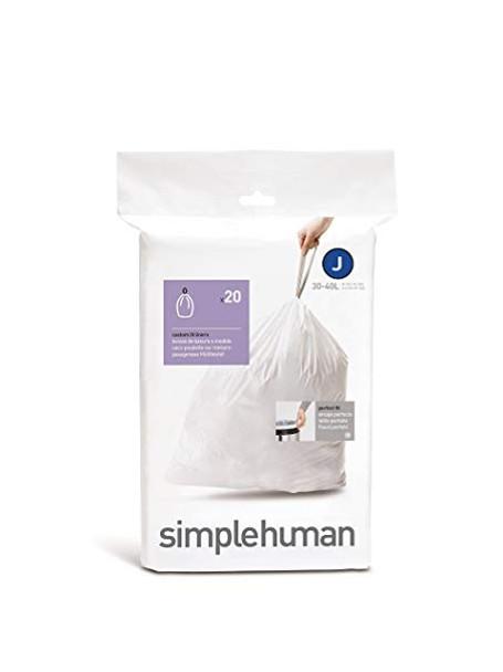 simplehuman Custom Fit Bin Liner Code J, Pack Of 20