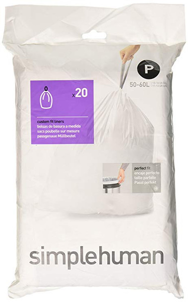 simplehuman Custom Fit Bin Liner Code P, Pack Of 20