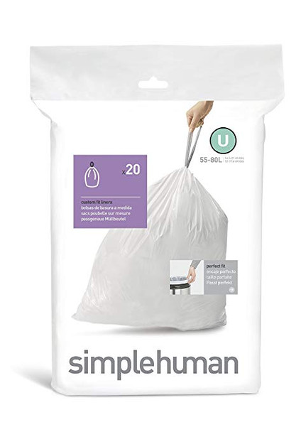 simplehuman Custom Fit Bin Liner Code U, Pack Of 20
