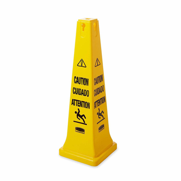 """Rubbermaid Safety Cone - Multilingual """"Caution"""" And """"Wet Floor"""" Symbol - 91cm"""