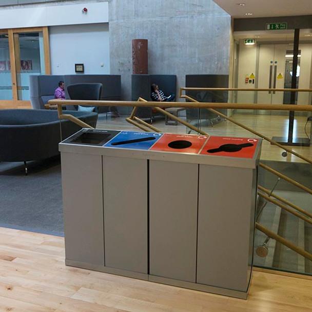 Wybone C-Bin Quad Recycling Unit Transparent Bodies - 320L
