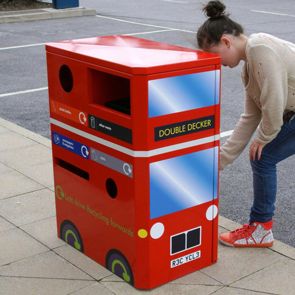 Wybone Double Decker Recycling Unit To Collect 4 Waste Streams With London Bus Vinyl Graphics