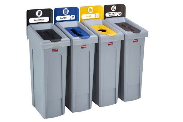 Rubbermaid Slim Jim Recycling Station Bundle 4 Stream - Landfill (black)/ Paper (blue)/ Plastic (yellow)/ Organic (brown)