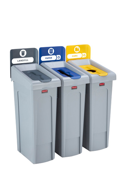Rubbermaid Slim Jim Recycling Station Bundle 3 Stream - Landfill (grey)/ Paper (blue)/ Plastic (yellow)