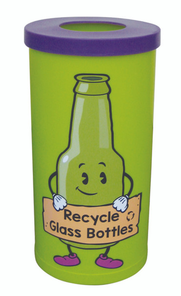 Theme Bins Popular with Glass Bottles Recycling Graphic for Indoor Use - 70 Litres
