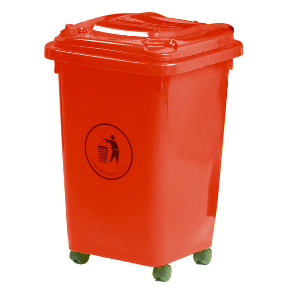 50L Wheeled Litter Bin - Red