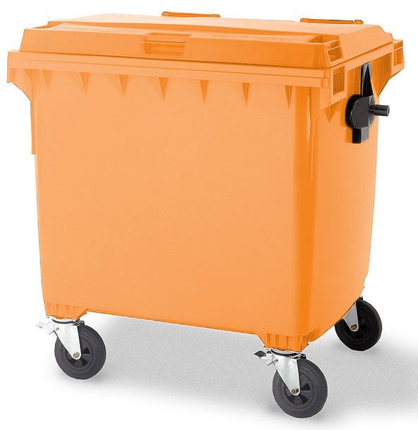 Orange Wheelie Bin - 1100 Litre