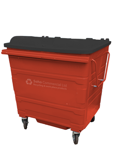 Red Metal Wheelie Bin - 1100 Litre