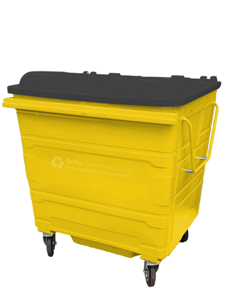 Yellow Metal Wheelie Bin - 1100 Litre