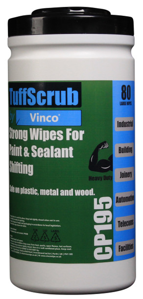 CP195 - HCI TuffScrub by Vinco PAINT & SEALANT Wipe - 80 Wipes - Heavy Duty Cleaning Wipe for Fast-Moving, Tough Environments