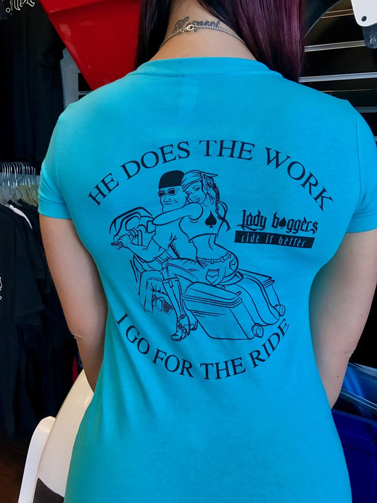 He Does The Work (Ladies Edition) V-Neck T-Shirt